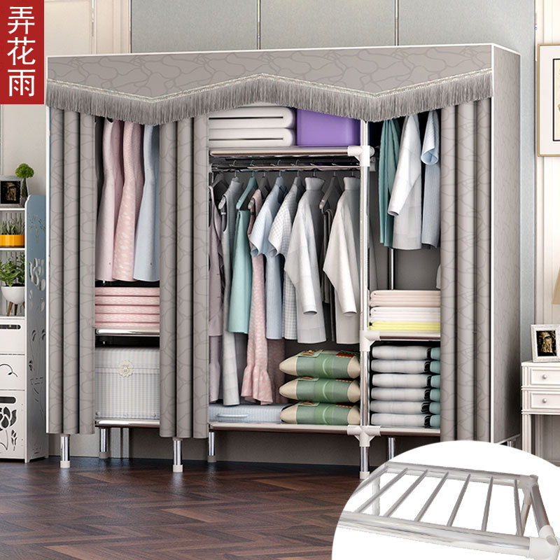 Simplicity Wardrobe Cloth Cabinet Steel Tube Rough Reinforced Oxford Cloth Fabric Thick Zipper Compartment All Steel Frame Stora