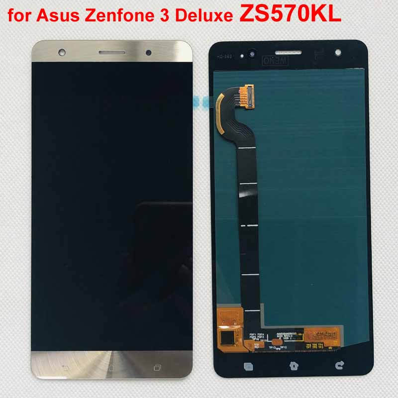 gold blue Amoled Original For Asus Zenfone 3 Deluxe ZS570KL Z016D  lcd display with touch screenr phone replacement Z016SMobile Phone LCD  Screens
