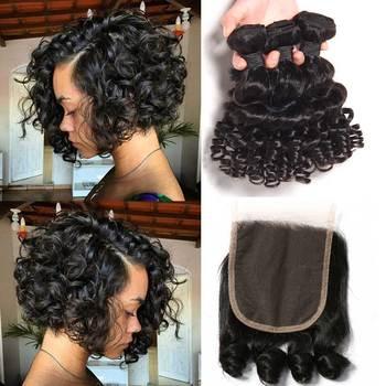 SayMe Bouncy Curly 3 4 Bundles With Closure Funmi Brazilian Hair Weave Bundles With Closure Remy Human Hair Bundles With Closure 1