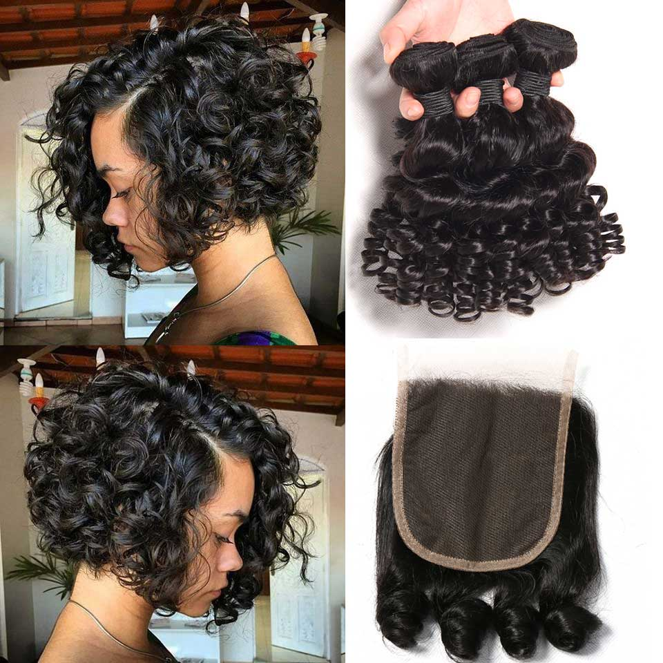 Bouncy Curly Bundles With Closure Funmi Brazilian Hair Weave Bundles With Closure NonRemy Human Hair Bundles With Closure Medium