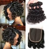 SayMe волнистые кудрявые 3 4 пучка с закрытием Funmi бразильские пучки волос с закрытием Remy человеческие пучки волос с закрытием
