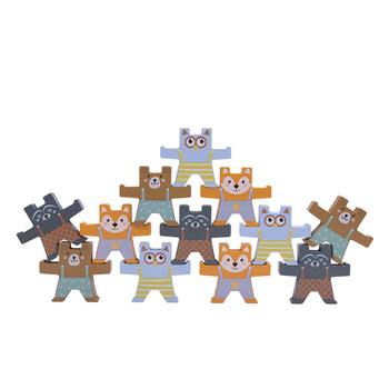 Drewniane bloczki niedźwiedź bilans gra domino wieża do układania wczesna edukacja edukacyjne zabawki dla dzieci Montessori zabawki prezent 12 sztuk tanie i dobre opinie Lee s Sharing Keep away from water and fire Drewna 5-7 lat 2-4 lat Zwierzęta i Natura LTC00638 Early childhood educational toys