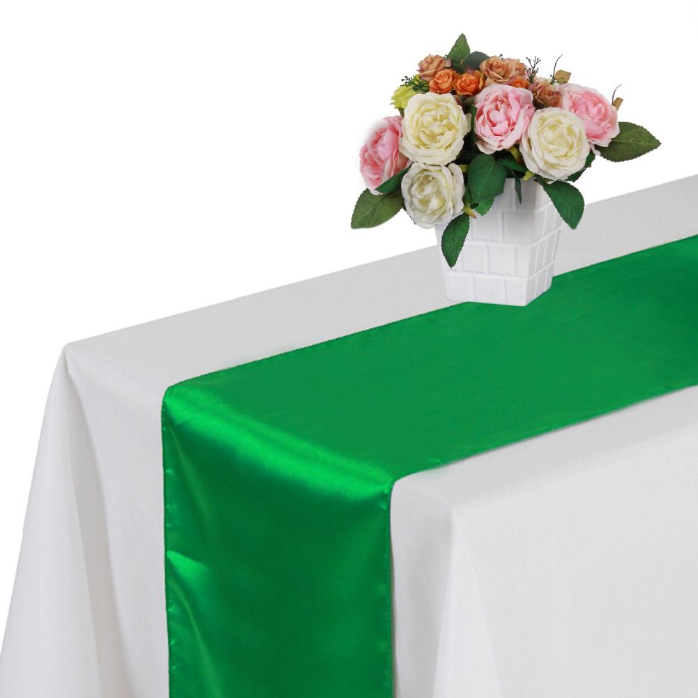 30 * 275CM Tight Overlock Satin Table Cloth Table Runner For Hotel Banquet For Graduation Wedding Ceremony Decoration