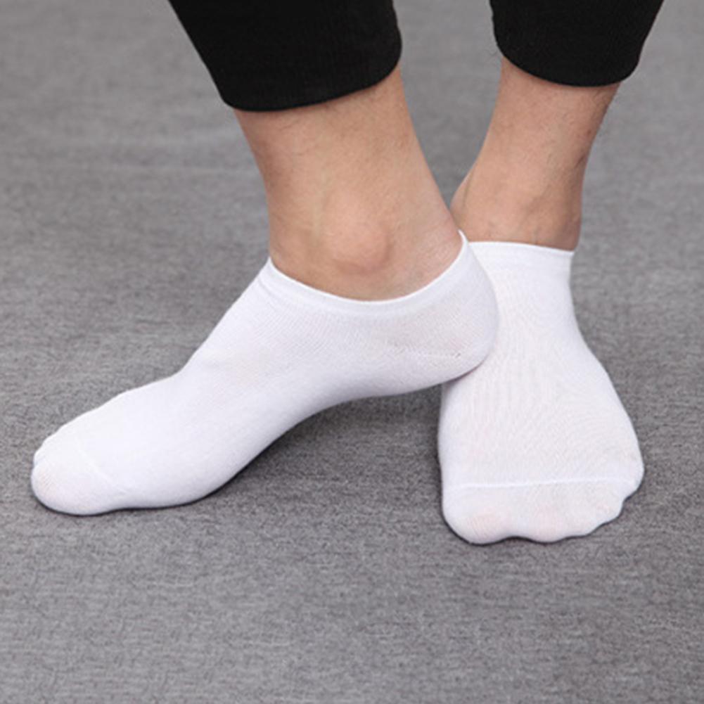 5 Pair Men Solid Color Breathable Cotton Sport Sneaker Elastic Short Ankle Socks