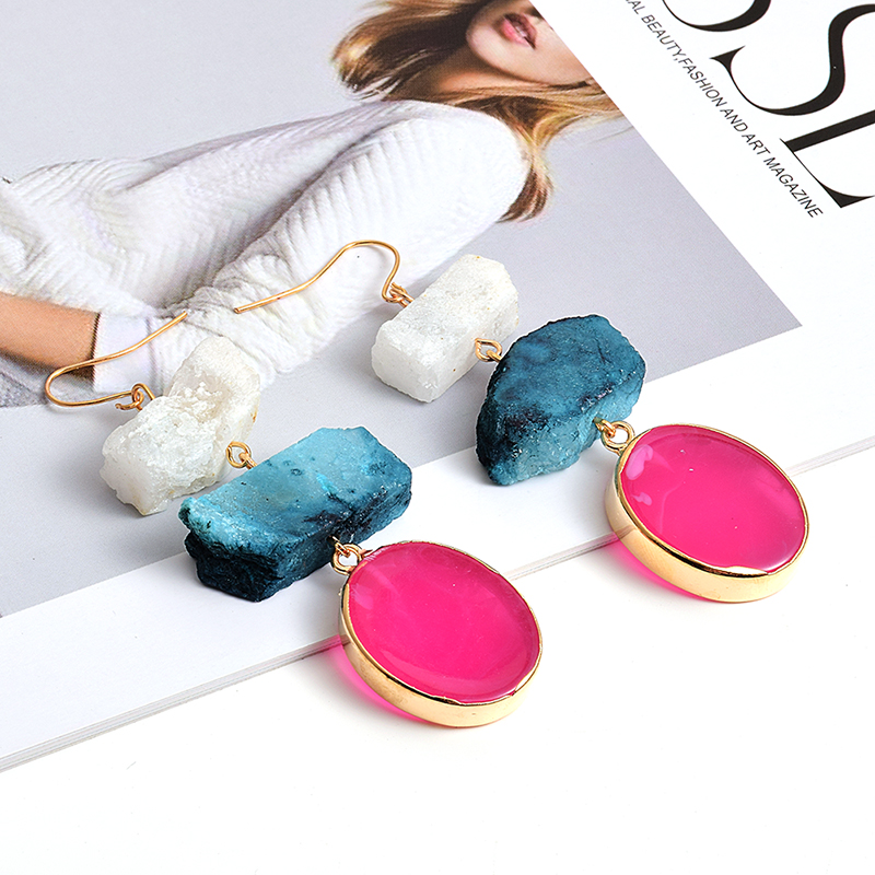 New Arrival Colorful Irregular Natural Stone Long Earrings High-quality Fashion Trend Drop Earring Wholesale Jewelry For Women