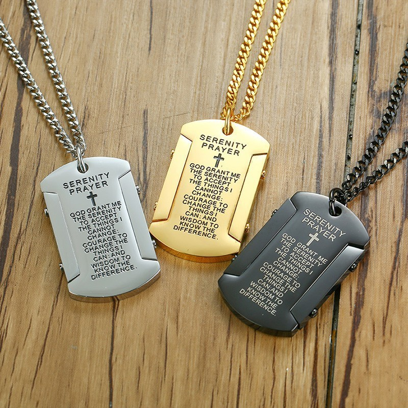 Vnox Mens Necklace with God grant me the serenity Stainless Steel Dog Tag Pendant Religious Male Colar Jewelry image