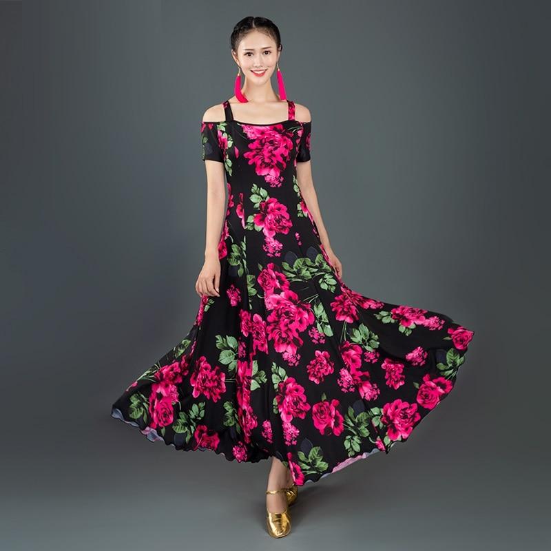 print short-sleeved Ballroom Dance Dress waltz dress for ballroom Dancing Tango Dance costumes Spanish Flamenco Dress