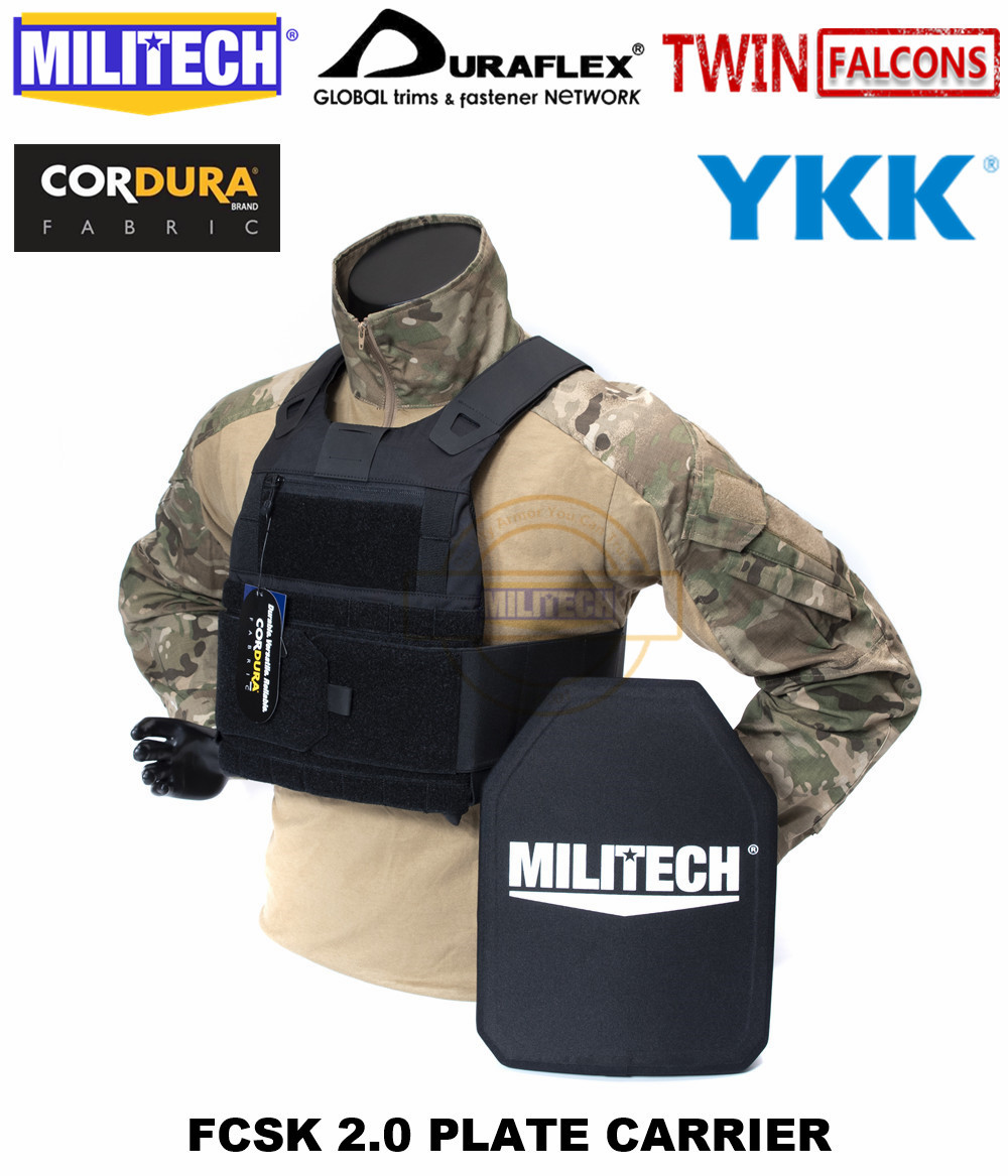 MILITECH TW FCSK 2.0 Black Advanced Slickster CQC Ferro Plate Carrier Military Combat Assault Tactical Vest Body Armor Carrier