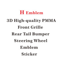 1pcs Car Front Grille 3D PMMA Material Emblem H Logo Trim Trunk  Stickers Accessories For Honda Civic Accord Fit Jazz City CRV metal 3d car feder trunk sticker vtec logo badge decal chrome accessories for honda civic accord odyssey spirior crv car styling