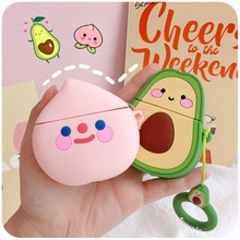 Case For Apple AirPods 2 1 Earphone Soft TPU Case For Apple Air Pods pro Cute Cartoon Strawberry Avocado Peach Cover With Hooks 3d lucky rat cartoon bluetooth earphone case for airpods pro cute accessories protective cover for apple air pods 3 silicone