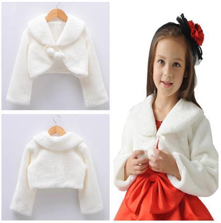 Warm Kids Wrap Cloak Fur Trim Junior Cape For Communion Dress Flower Girl Jacket White/Ivory/Red/Black
