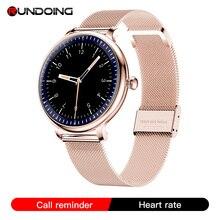 RUNDOING NY12 שעון אופנתי לנשים חכם שעון עגול למסך עגול עבור צג קצב לב הילדה תואם לאנדרואיד ו  IOS
