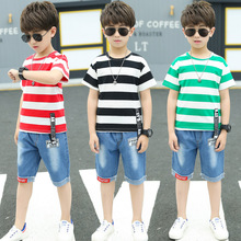 Korean Children Fashion Clothing Set Kids Baby Striped T-shirts   Denim Pants 2pcs Boys Clothes Children Clothing 12 Years New 1 2 3 4 year boys clothes 2018 new cotton casual kids outfits star shirts stripe pants 2pcs baby children clothing set