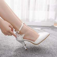Crystal Queen Large size women's shoes white lace high heels