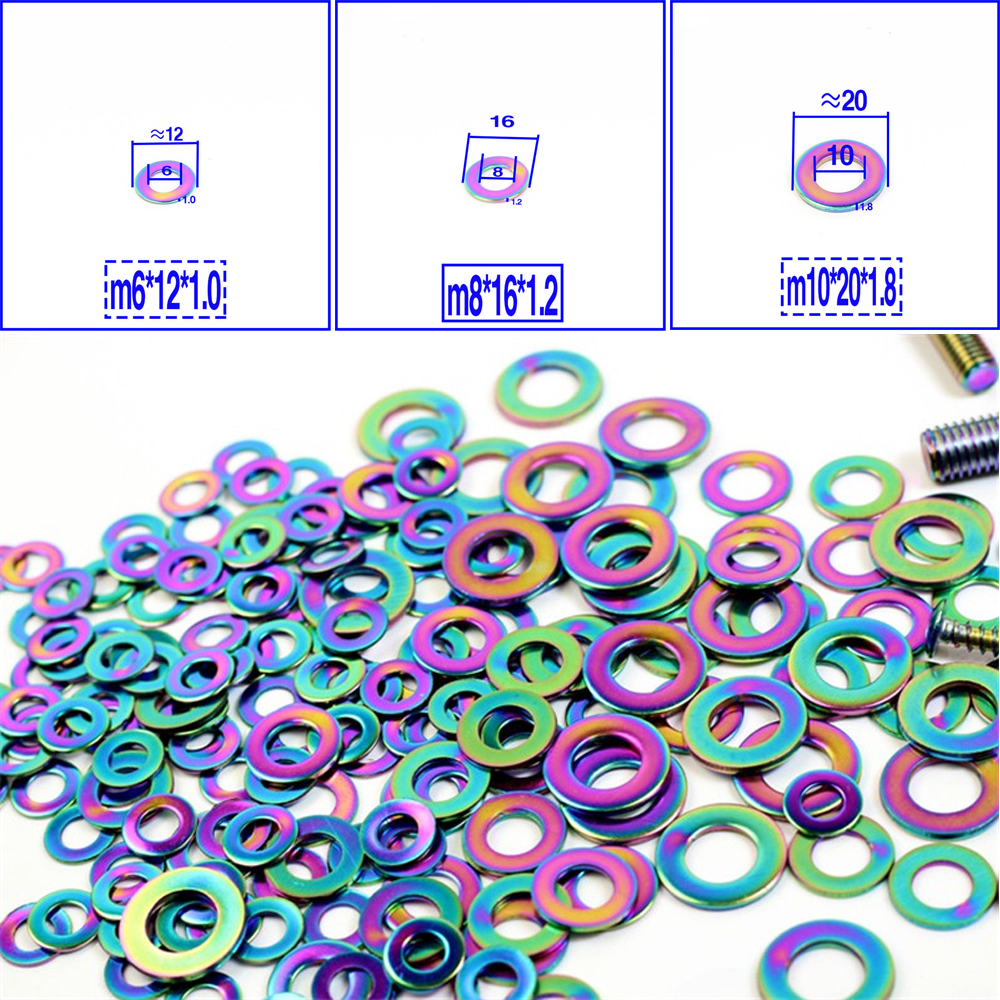 10 Pcs Titanium Screw Washer M6 M8 M10 Titanium gasket Ti color ring Ti Fastener Bolt Screw For <font><b>cbr</b></font> <font><b>600</b></font> f4 honda <font><b>2005</b></font> re image