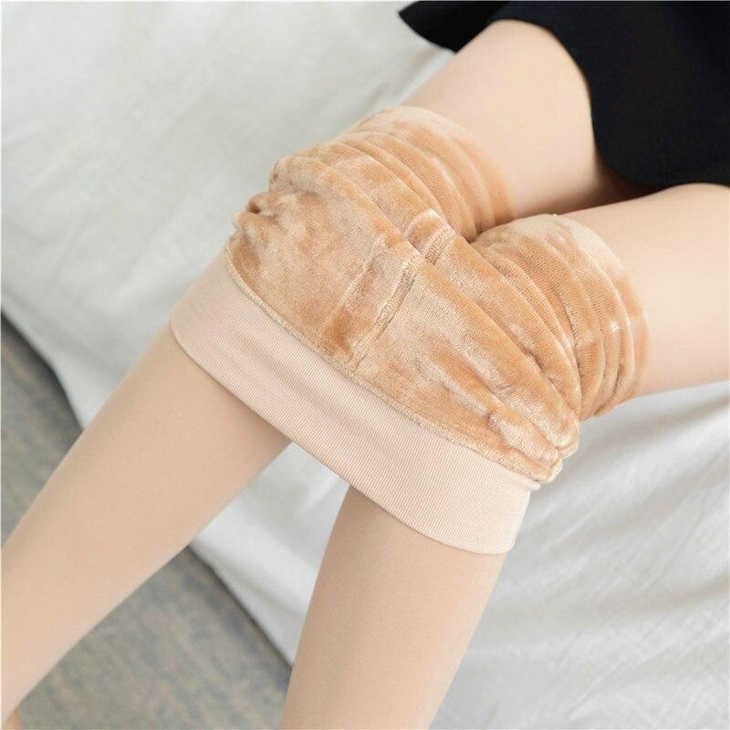 2019 Autumn Winter Skin Color Leggings Women Wear Feet Warm Heart One Light Leg Flesh Color Thick Leggings Winter Leggings 300g