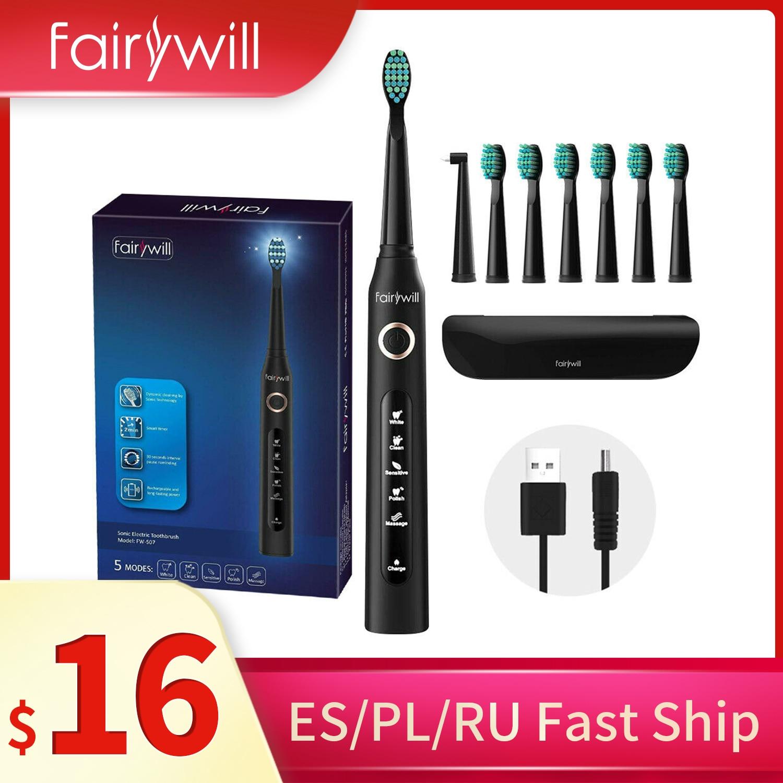 Fairywill FW507 brosse à dents électrique 5 Mode USB Charge orale propre brosse à dents sonique étanche têtes de remplacement étui de voyage adulte