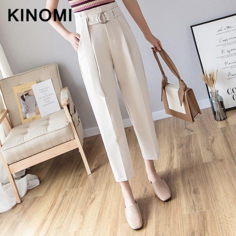 KINOMI Autumn Korean Casual Women Pants With Belt Female Work Wear Pants High Waist Trousers Office Lady 2019 New Trousers Women
