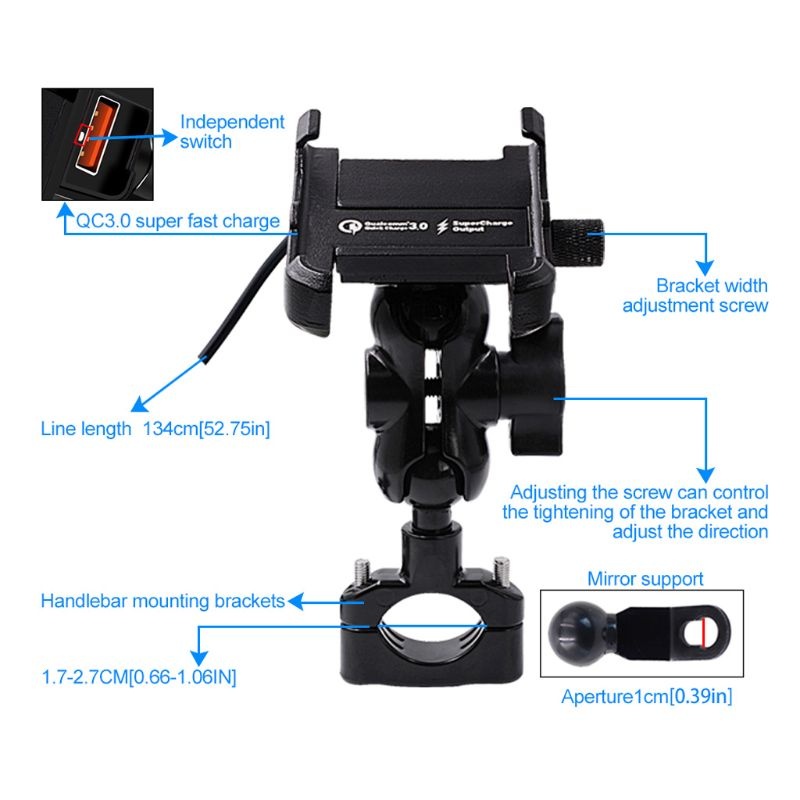 Image 5 - Waterproof Metal Motorcycle Smart Phone Mount with QC 3.0 USB Quick Charger Motorbike Mirror Handlebar Stand Holder for SamsungPhone Holders & Stands   -
