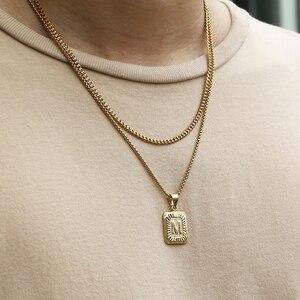 Mode Gold Farbe Layered Halskette 26 Brief Charme Halskette Anhänger Für Frauen Männer Box Curb Kubanischen Schmuck Geschenke