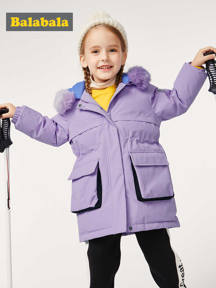 ילדים למטה מעיל בנות ארוך סגנון תינוק סתיו וחורף 2019 ילדים חדשים גדול פרווה צווארון מעיל גאות