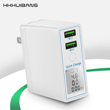 HKHUIBANG 36w usb charger QC 4.0 3.0 mobile phone charger for iPhone /Samsung /Xiaomi fast charger adapter led display