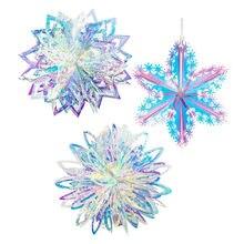 Décorations de fête de la reine des neiges en Film néon 3D, flocons de neige, décorations de noël pour la maison, fausses guirlandes de neige, décor d'hiver