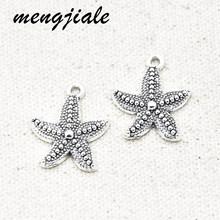 15 pçs por atacado antigo prata estrela do mar encantos liga de metal pingentes para diy artesanal jóias acessórios fazendo 23*19mm