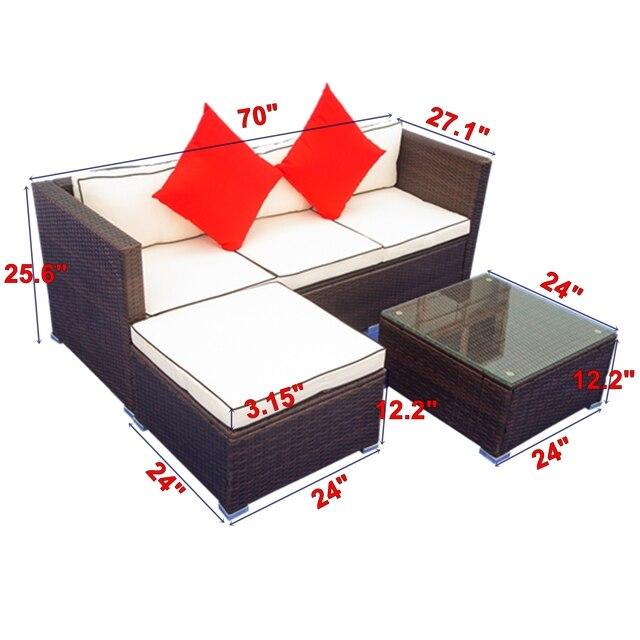 3 Piece Patio  Wicker Sectional Sofa Set  2