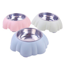 Dog Bowls Stainless Steel Petal type Travel Footprint Feeding Feeder Water Bowl For Big Dish Fit All Pet Puppy Cat