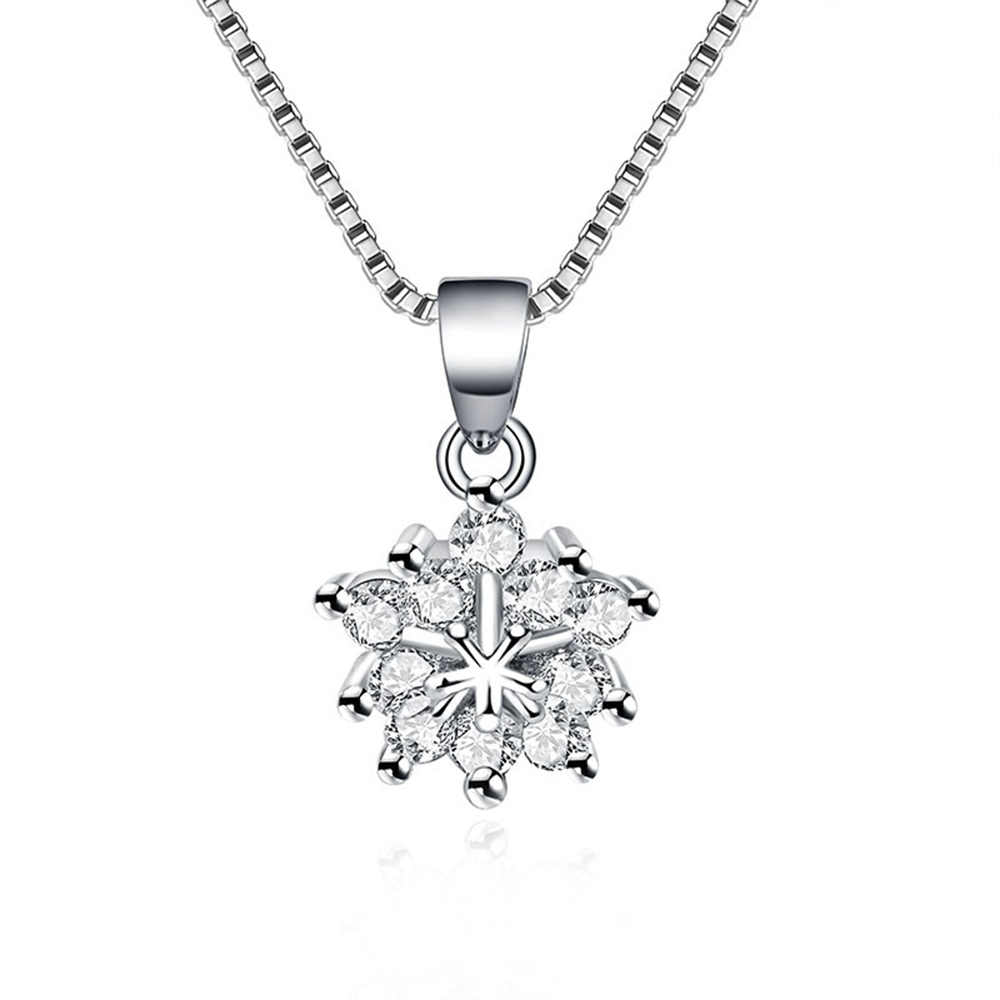925 sterling silver necklace snow zircon snowflakes necklace silver chain Christmas gift Micro Inlay cubic zirconia necklace for