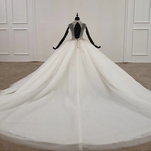 Image 2 - HTL1285 2020 crystal wedding dress women sleeveless beading high neck luxury white wedding dress bride gown new