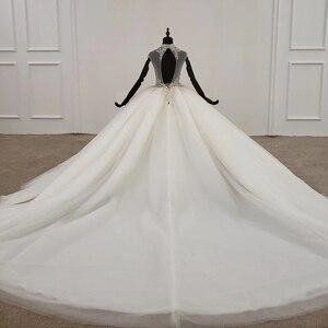 Image 2 - HTL1285 2020 クリスタルウェディングドレス女性ノースリーブビーズハイネック高級白ウェディングドレスの花嫁ドレス新