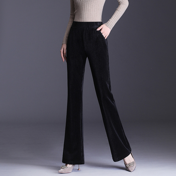 Thick Corduroy Pants Classcial Ladies Flare Women Winter Double-sided velvet Elastic High Waist Flared Trousers