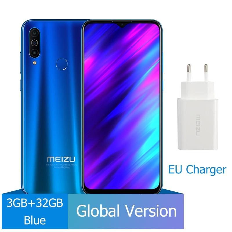 Новое поступление Meizu M10, глобальная версия, 3 ГБ, 32 ГБ, MTK P25, четыре ядра, тройная камера, Android телефон, 4000 мАч, большая батарея - Цвет: 32G Blue
