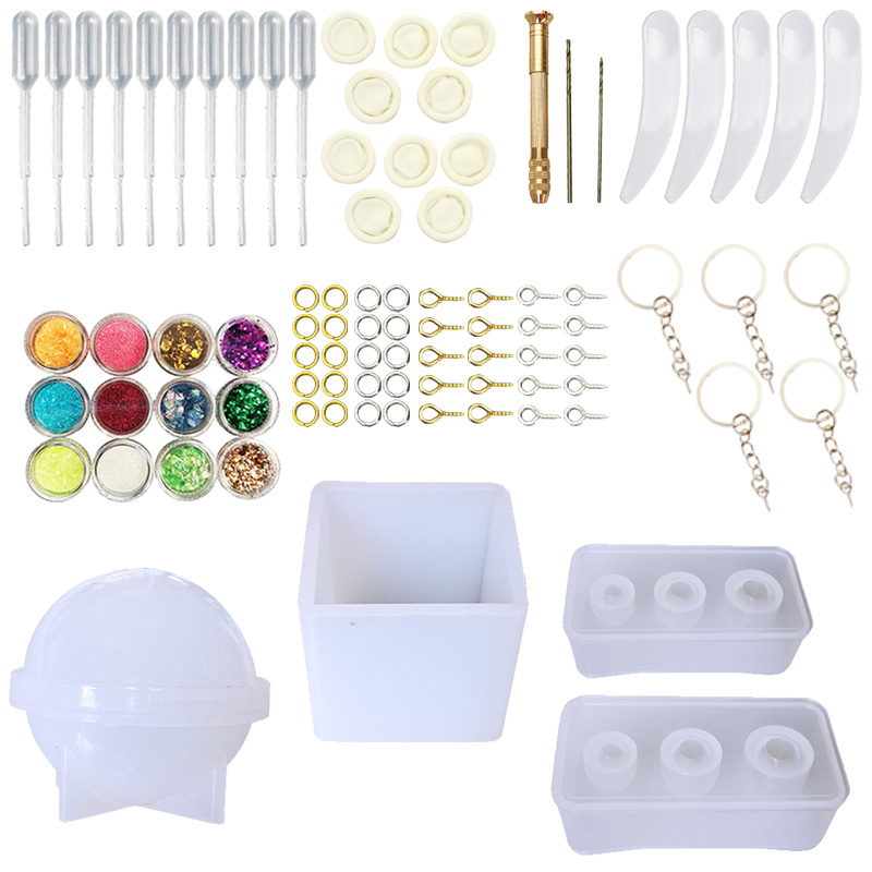 DIY Jewelry Casting Molds Tools KIT Egg Ball Round Square Silicone Jewelry Resin Molds