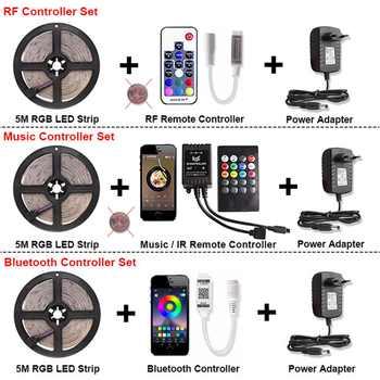 RF / Bluetooth / Music RGB LED Strip Light SMD 2835 Waterproof DC 12V Ribbon Tira Led Diode Tape 5M 60 LEDs/m Controller Adapter