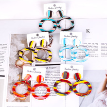 Colorful Striped Acrylic Earrings Korean Version of The Cute Resin Fashion Temperament Manufacturers Custom