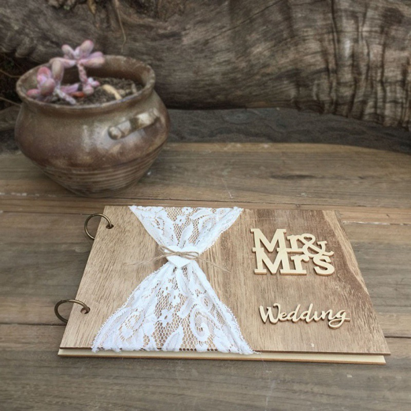 Wedding GuestBook Wooden Guest Book Personalised DIY Photo Book Signature Guest Book Lace Decora Book 10 Pages Wedding Supplies