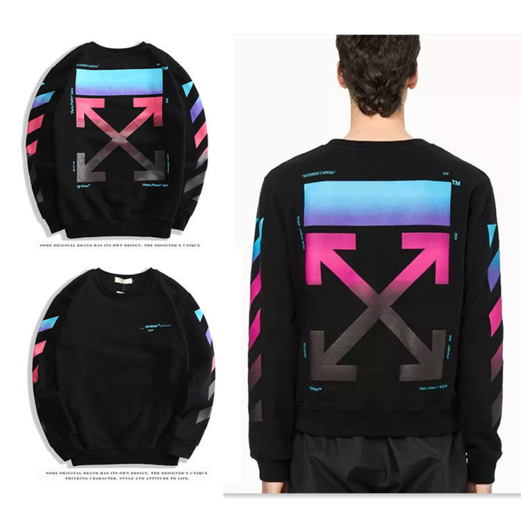 Off Ow White Colorful Arrowhead Gradient Crew Neck Pullover Plus Velvet Hoodie Men's Sweatshirts & Hoodies Rainbow Men And Women