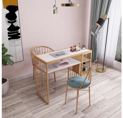 Купить с кэшбэком Net red European style gold manicure table and chair set single double diamond iron double deck manicure table sofa chair