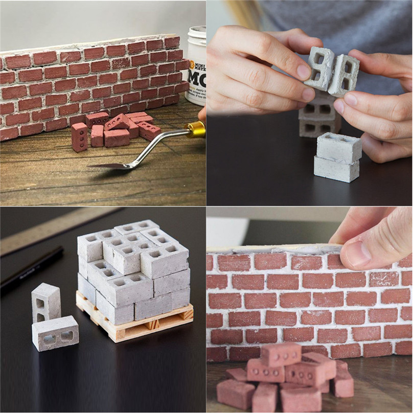 NEW 2pcs Mini Cement Bricks And Mortar Let You Build Your Own Tiny Wall Mini Bricks  4A30