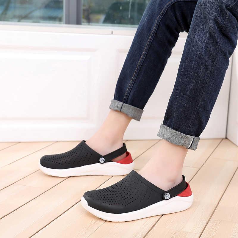 2020 мужские сандалии; Летняя обувь с прорезями; Резиновые сабо для мужчин; EVA; Унисекс; Садовая обувь; Черные пляжные сандалии на плоской подошве; Тапочки; Zapatos Hombre