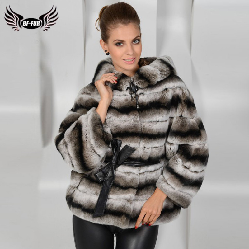 2019 New Women's Real Chinchilla Rex Rabbit Fur Coat With Hood Thick Full Pelt Natural Rex Rabbit Fur Jacket With Leather Belt