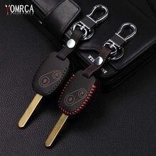Novo design de couro genuíno capa carteira chave caso remoto para honda CR-V civic apto liberado stepwgn chave dois 2 botões