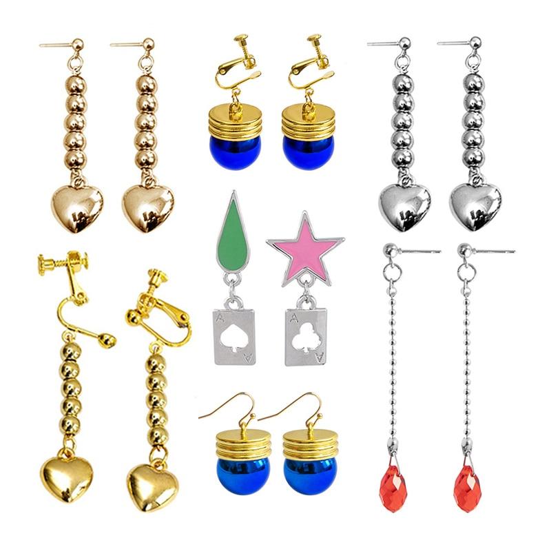 Anime HUNTER X HUNTER Hisoka Earrings Star Teardrop Poker Heart Pendant Earrings For Women Men Cosplay Jewelry Accessories