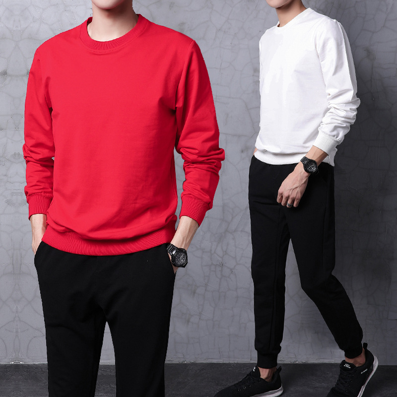 Hoodie Men's 2018 New Style Autumn Crew Neck Sports Set Men Korean-style Pure Cotton Two-Piece Set Spring And Autumn Pullover Me