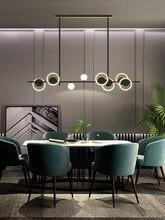 Modern Black/Gold circle LED Chandelier Restaurant table Lights Living room Island decor Dining room Hanging lamp 110v-240V
