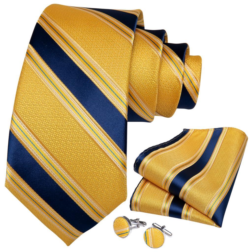 Quality Men Tie Gold Blue Striped Design Silk Wedding Tie For Men Handky Cufflink Gift Tie Set DiBanGu Party Business SJT-7340