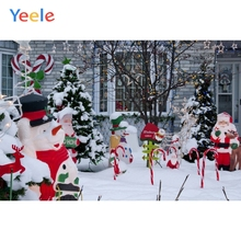 Yeele Christmas Backdrop Winter Snowman Snow Tree Yard Photography Background Photo Studio Photobooth Shoot Photophone Props